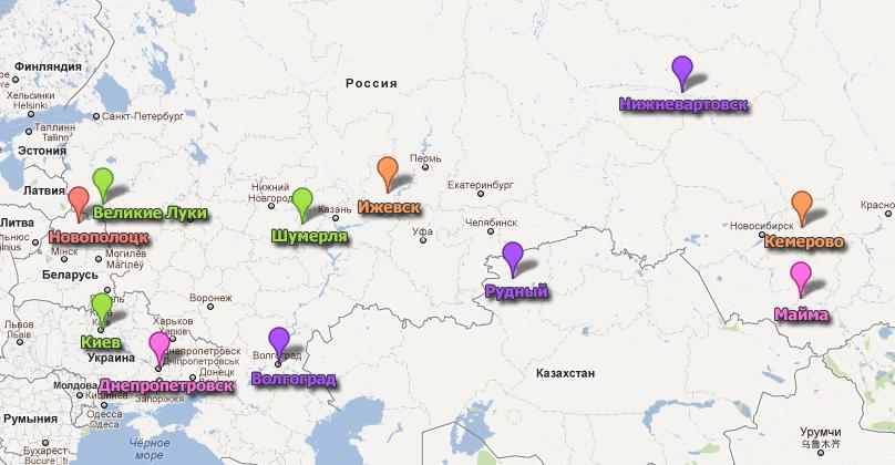 Карта городов принимавших Новогодний марафон